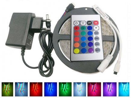 led band mit fernbedienung f r rgb farben 5 meter mit gratis versand. Black Bedroom Furniture Sets. Home Design Ideas